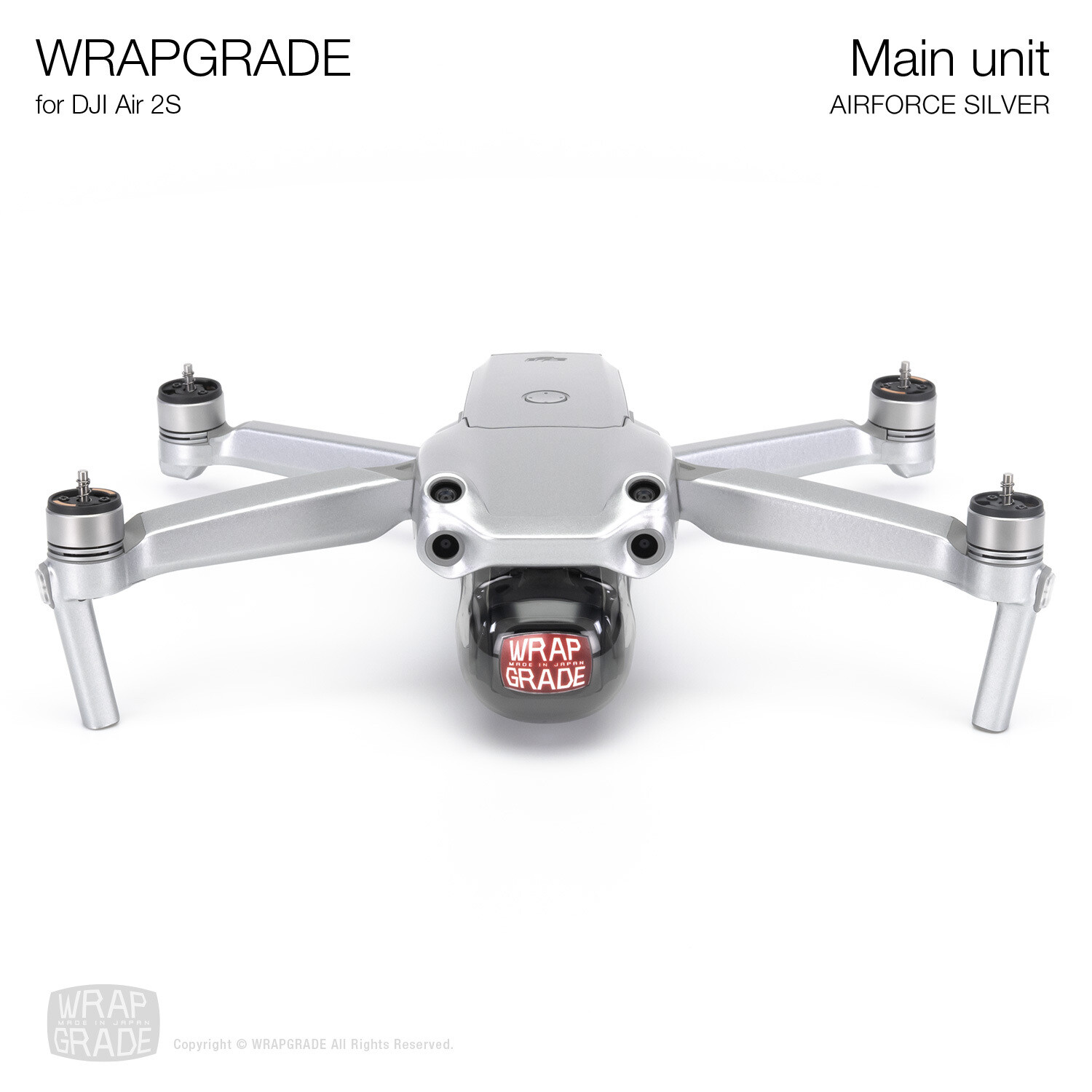 Wrapgrade Skin for DJI Air 2S   Main Unit (AIRFORCE SILVER)