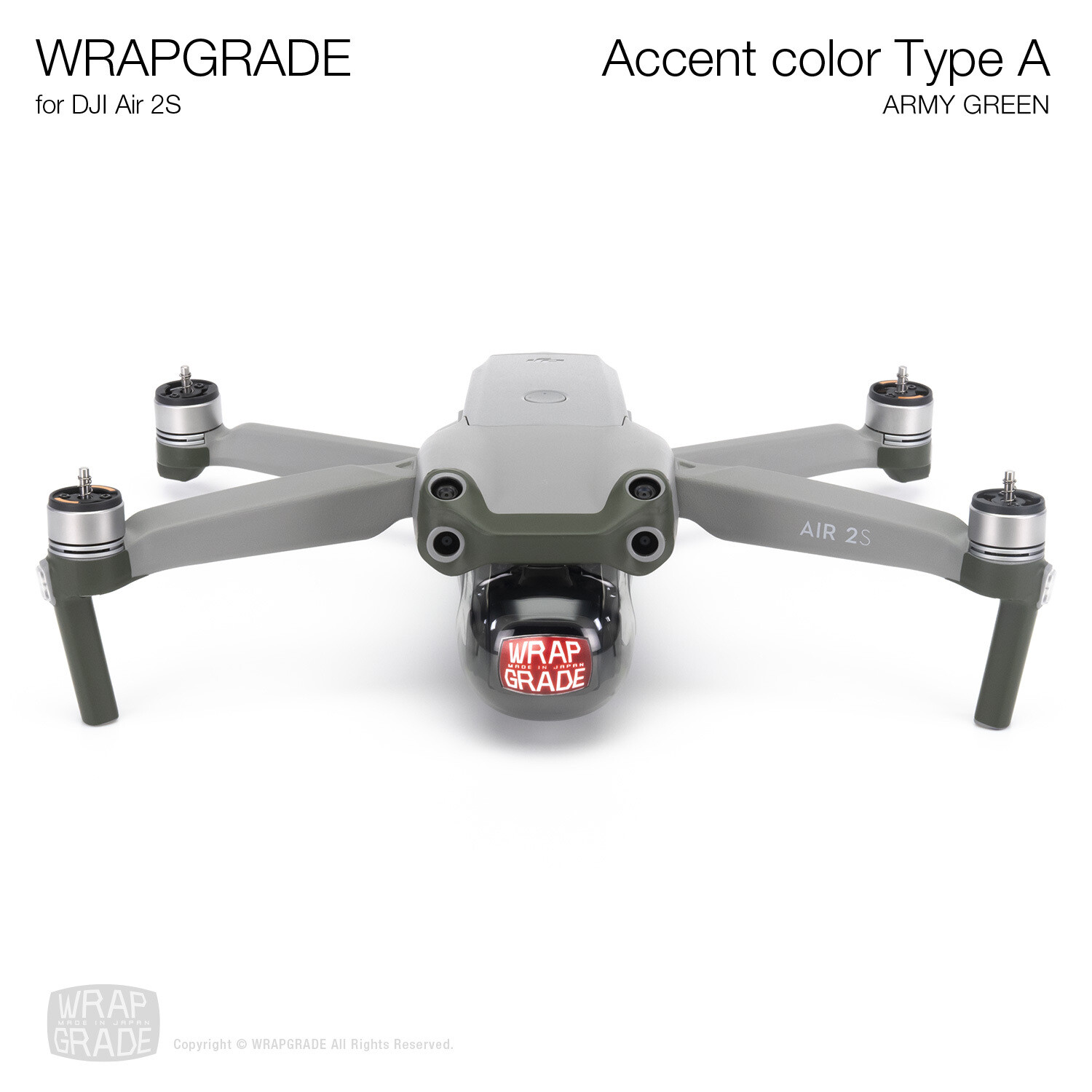 Wrapgrade Skin for DJI Air 2S   Accent Color A (ARMY GREEN)