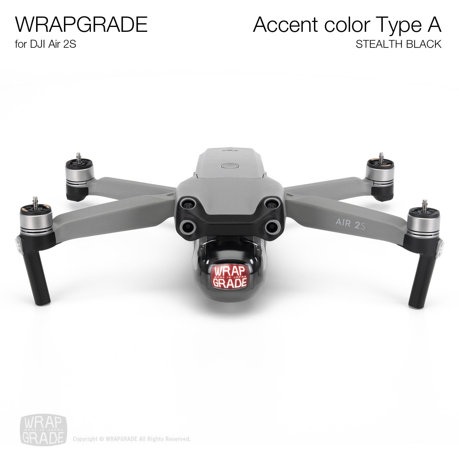 Wrapgrade Skin for DJI Air 2S | Accent Color A (STEALTH BLACK)