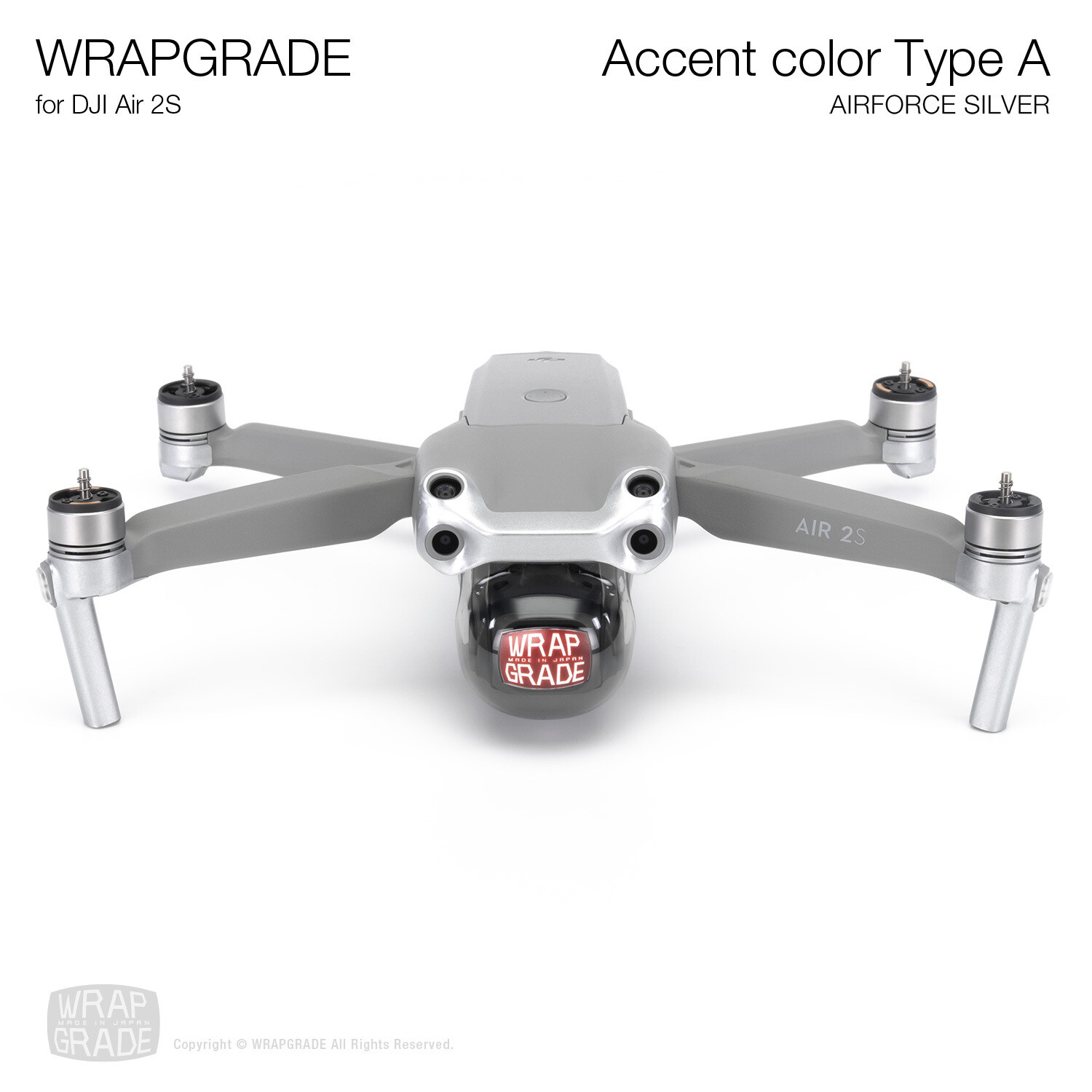 Wrapgrade Skin for DJI Air 2S   Accent Color A (AIRFORCE SILVER)