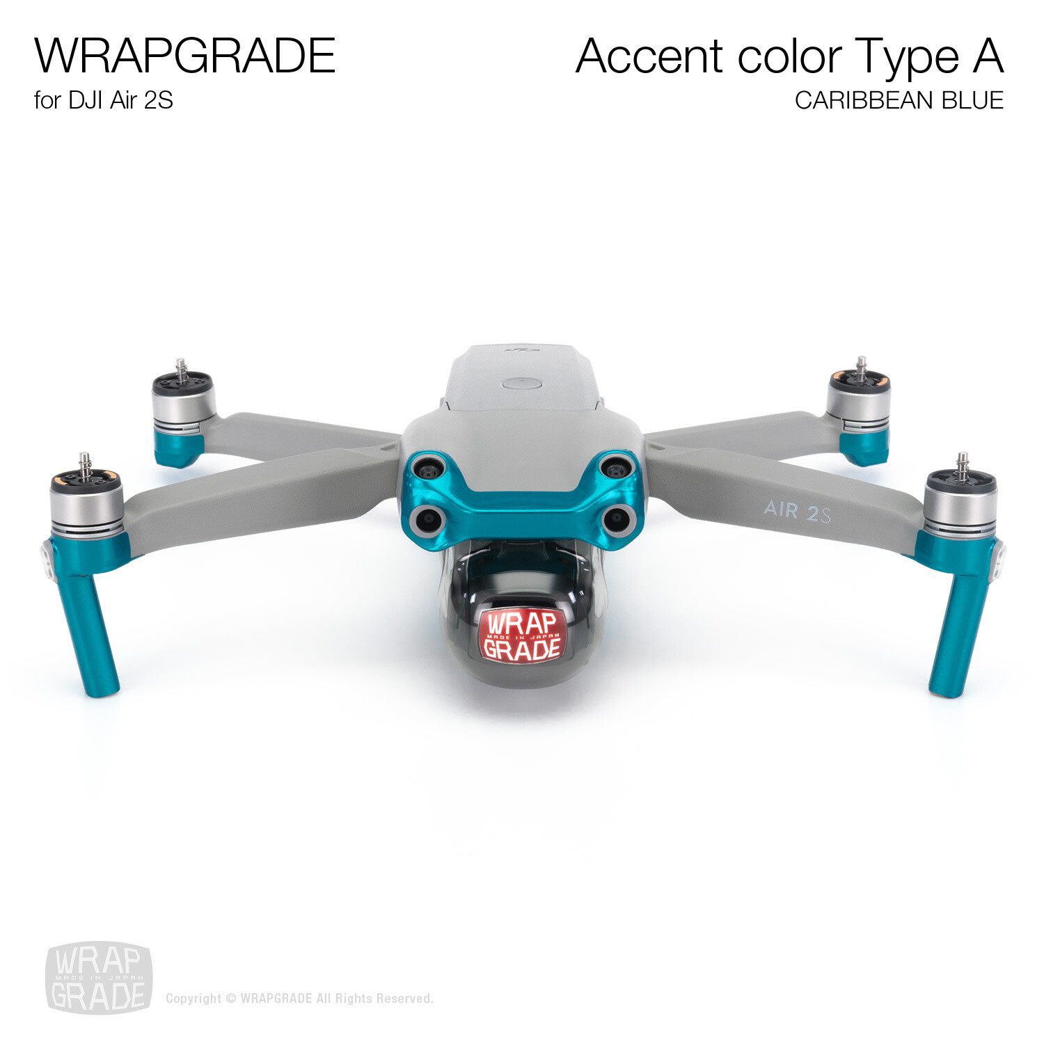 Wrapgrade Skin for DJI Air 2S | Accent Color A (CARIBBEAN BLUE)