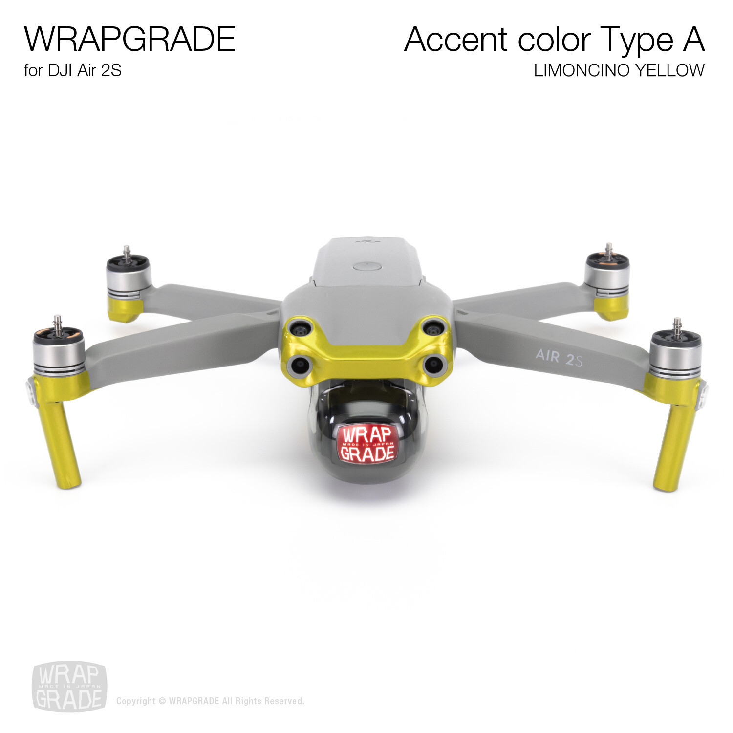 Wrapgrade Skin for DJI Air 2S | Accent Color A (LIMONCINO YELLOW)