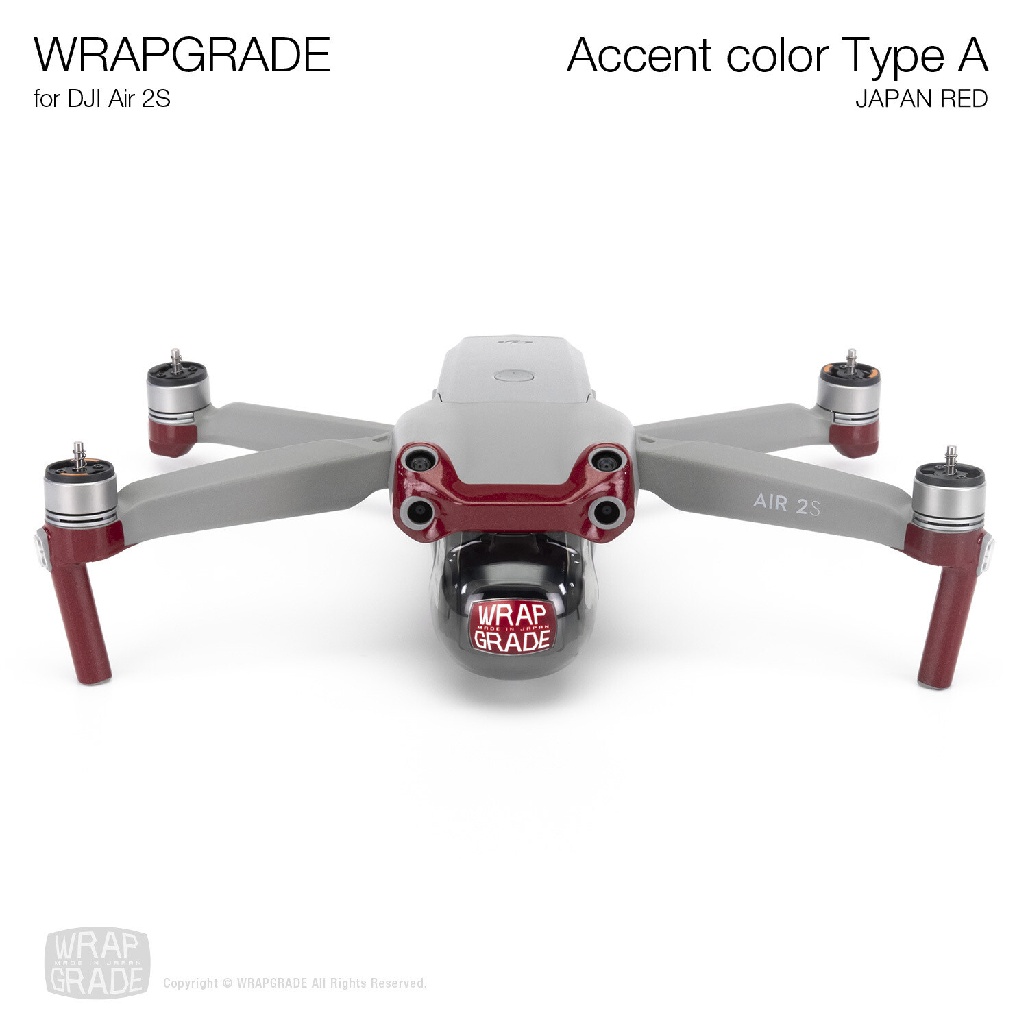 Wrapgrade Skin for DJI Air 2S | Accent Color A (JAPAN RED)