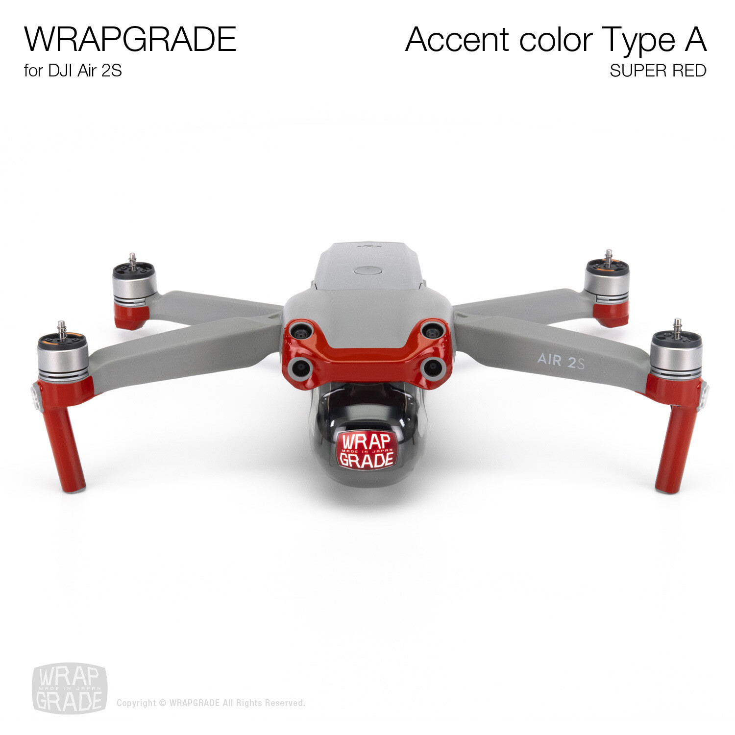 Wrapgrade Skin for DJI Air 2S | Accent Color A (SUPER RED)