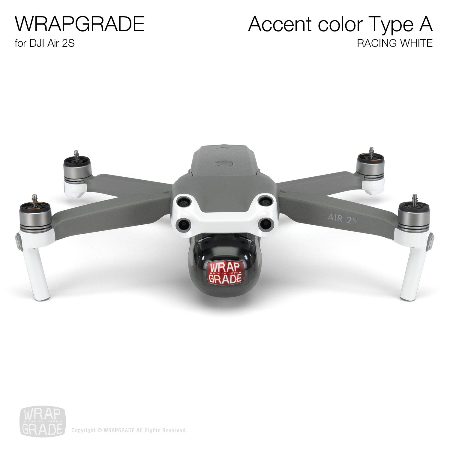 Wrapgrade Skin for DJI Air 2S | Accent Color A (RACING WHITE)