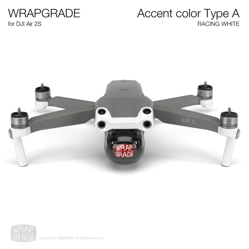 Wrapgrade Skin for DJI Air 2S   Accent Color A (RACING WHITE)