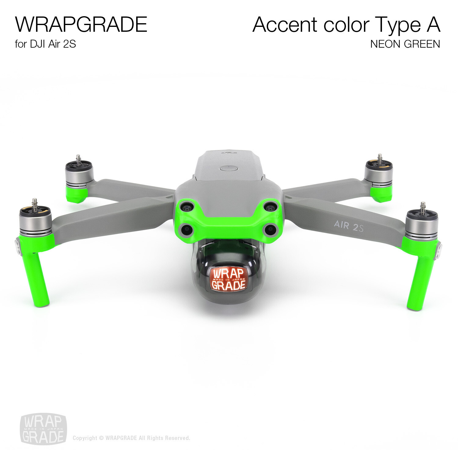 Wrapgrade Skin for DJI Air 2S | Accent Color A (NEON GREEN)