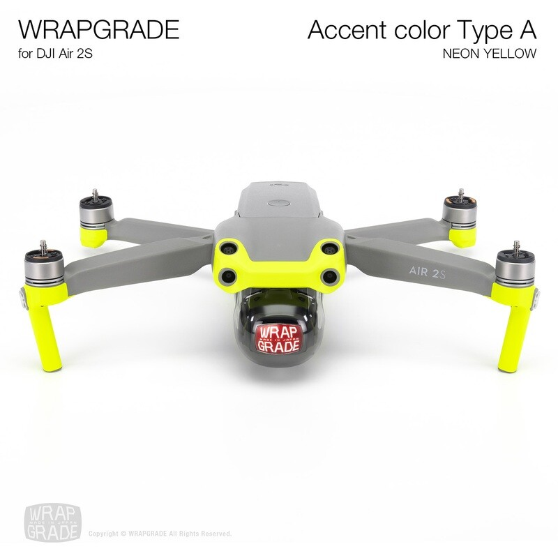 Wrapgrade Skin for DJI Air 2S   Accent Color A (NEON YELLOW)
