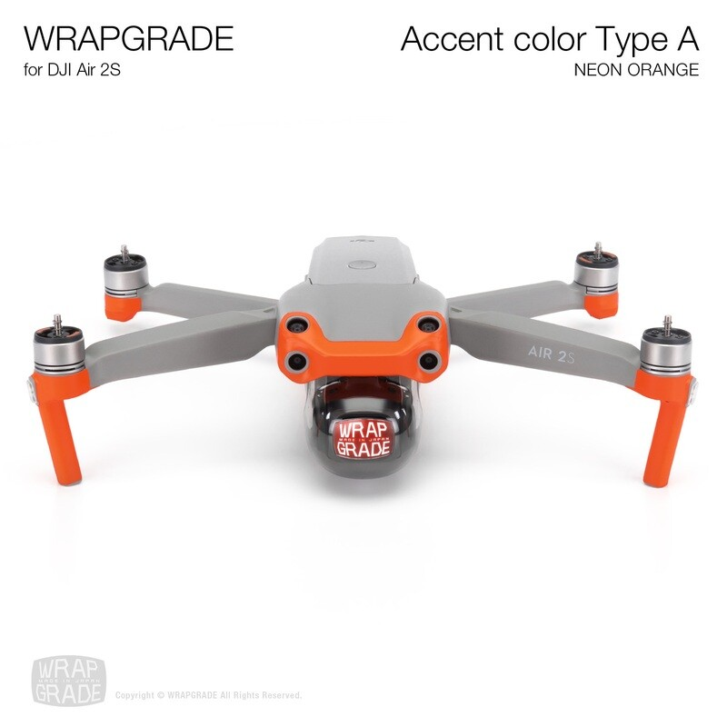 Wrapgrade Skin for DJI Air 2S   Accent Color A (NEON ORANGE)
