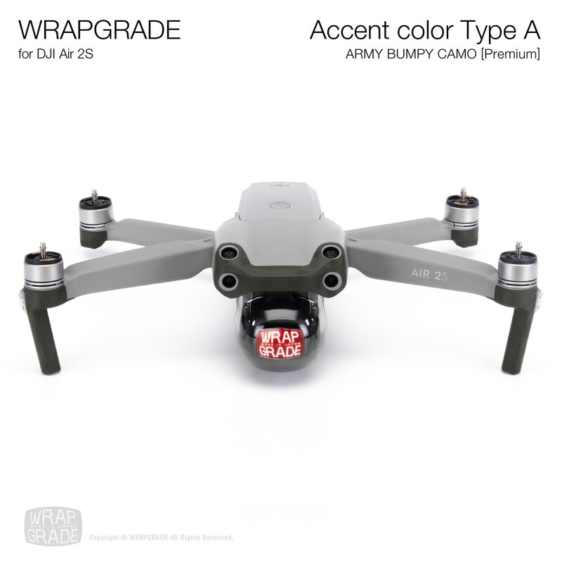 Wrapgrade Skin for DJI Air 2S   Accent Color A (ARMY BUMPY CAMO)