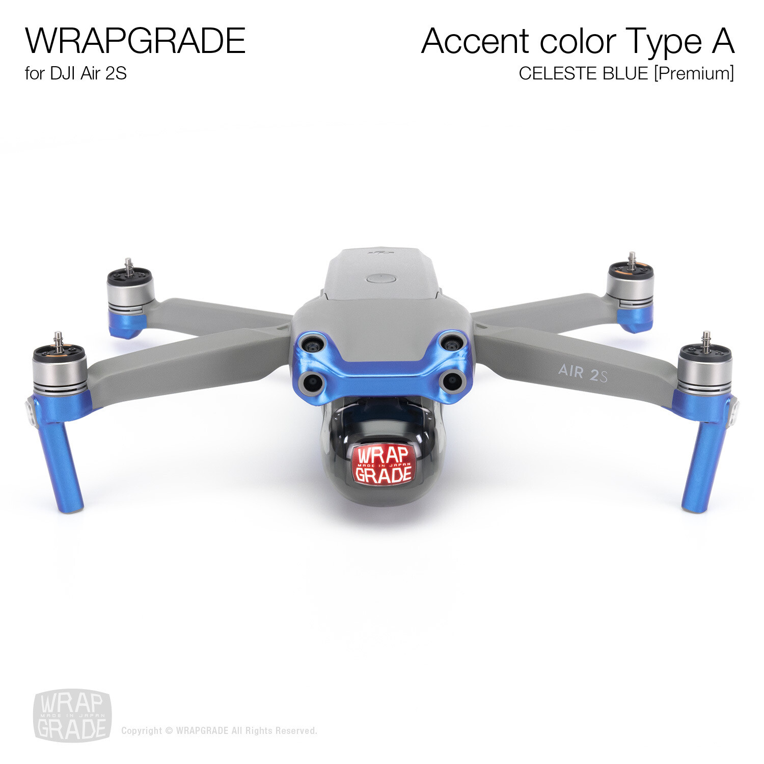 Wrapgrade Skin for DJI Air 2S | Accent Color A (CELESTE BLUE)