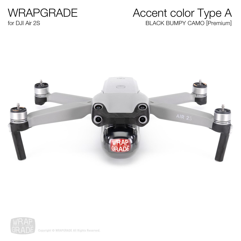 Wrapgrade Skin for DJI Air 2S | Accent Color A (BLACK BUMPY CAMO)