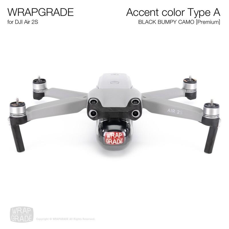 Wrapgrade Skin for DJI Air 2S   Accent Color A (BLACK BUMPY CAMO)