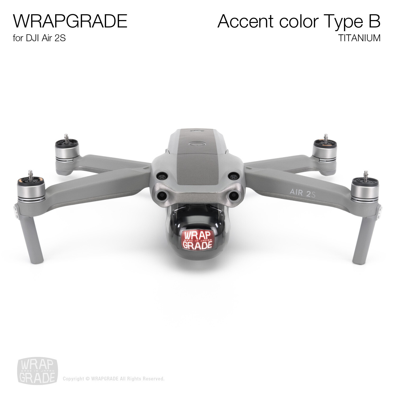 Wrapgrade Skin for DJI Air 2S | Accent Color B (TITANIUM)