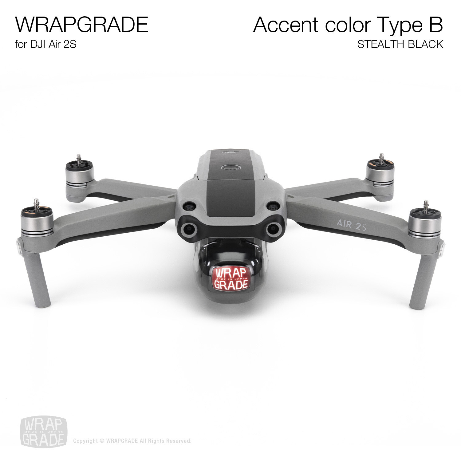 Wrapgrade Skin for DJI Air 2S | Accent Color B (STEALTH BLACK)