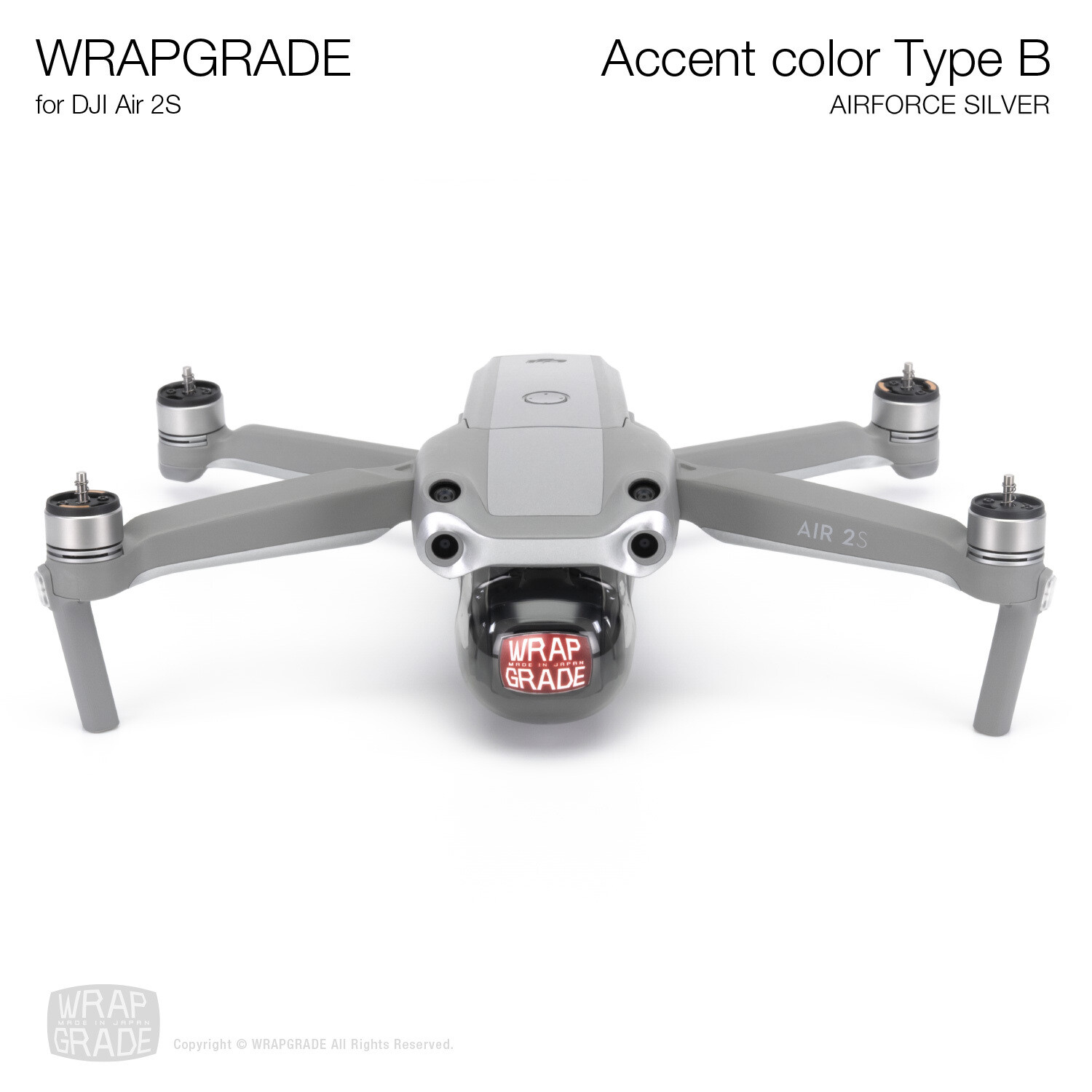 Wrapgrade Skin for DJI Air 2S | Accent Color B (AIRFORCE SILVER)