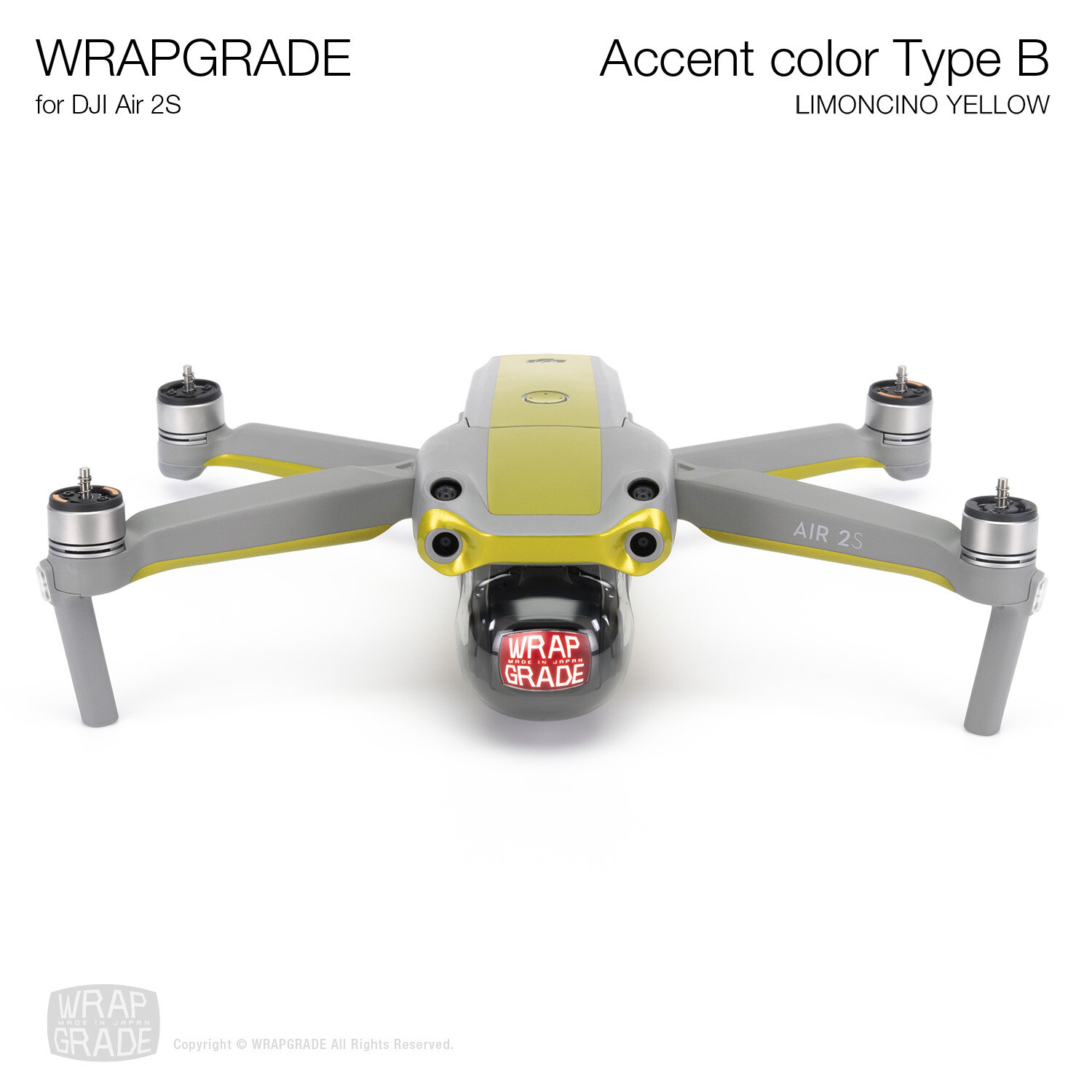 Wrapgrade Skin for DJI Air 2S | Accent Color B (LIMONCINO YELLOW)