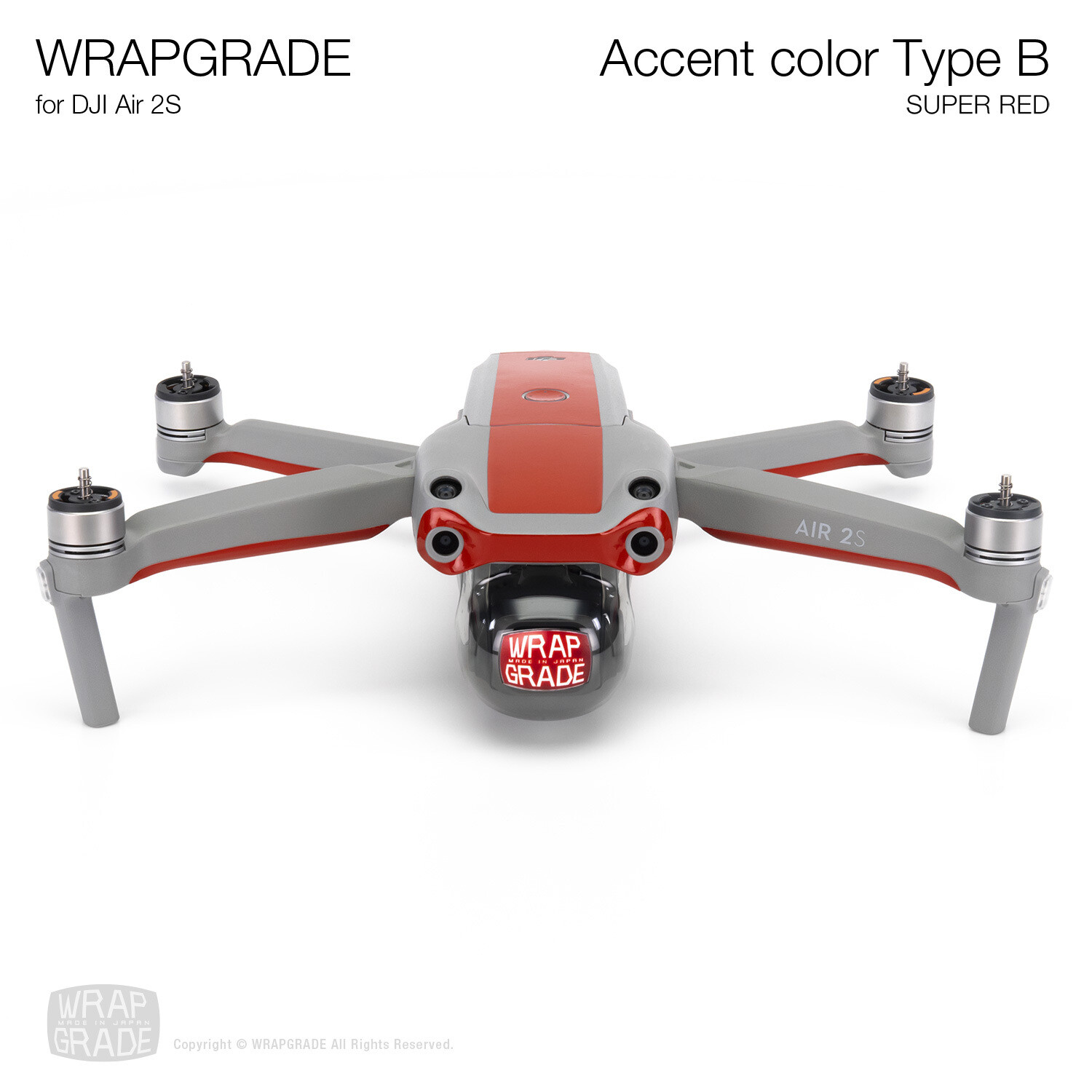 Wrapgrade Skin for DJI Air 2S | Accent Color B (SUPER RED)