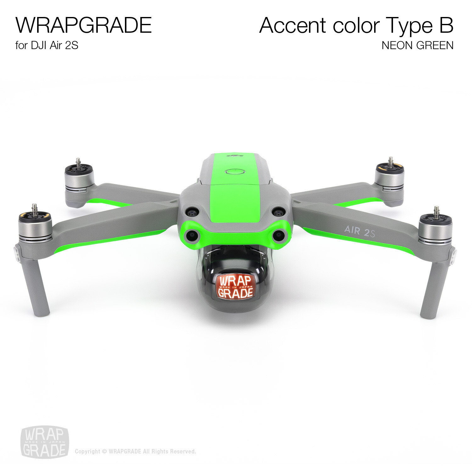 Wrapgrade Skin for DJI Air 2S | Accent Color B (NEON GREEN)