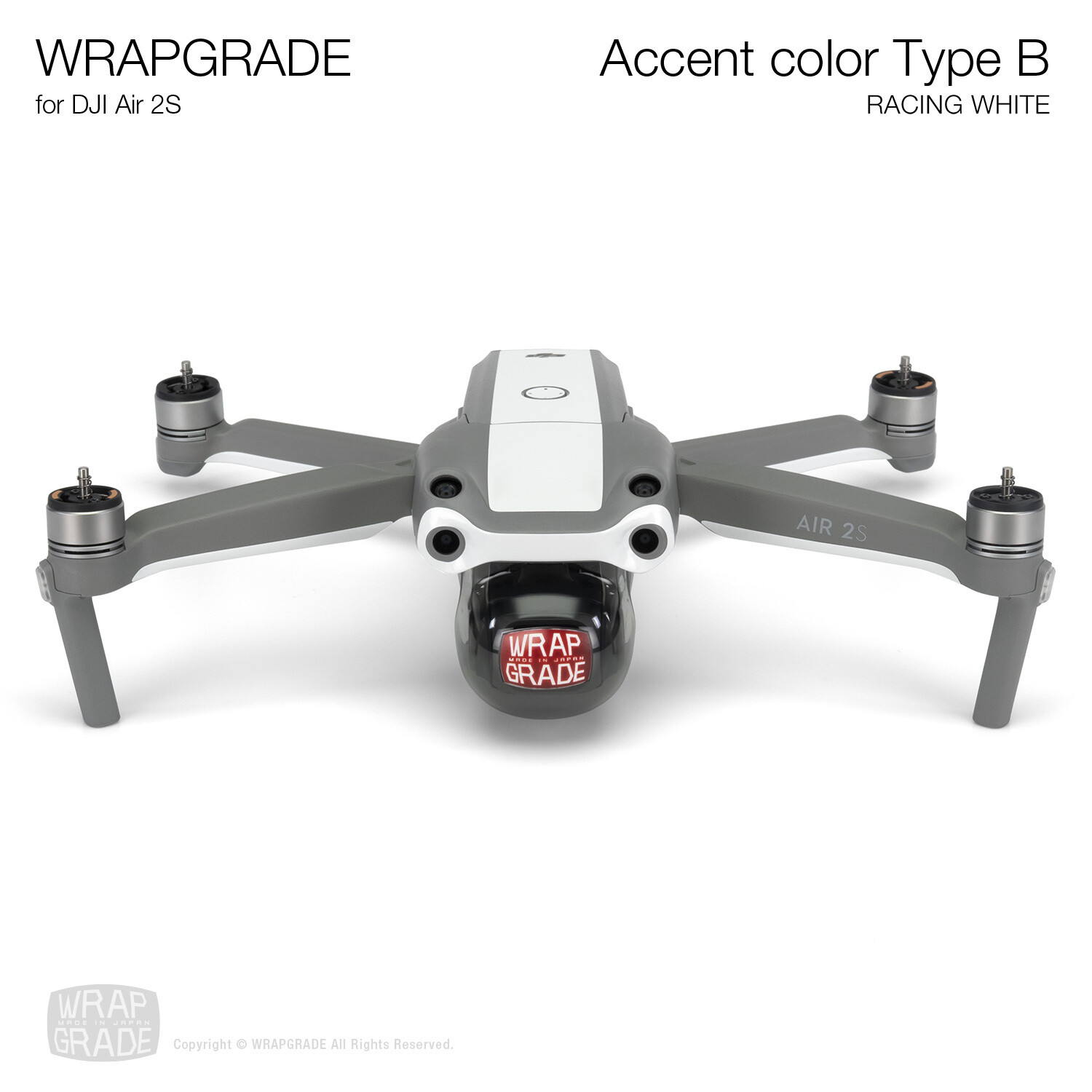 Wrapgrade Skin for DJI Air 2S | Accent Color B (RACING WHITE)