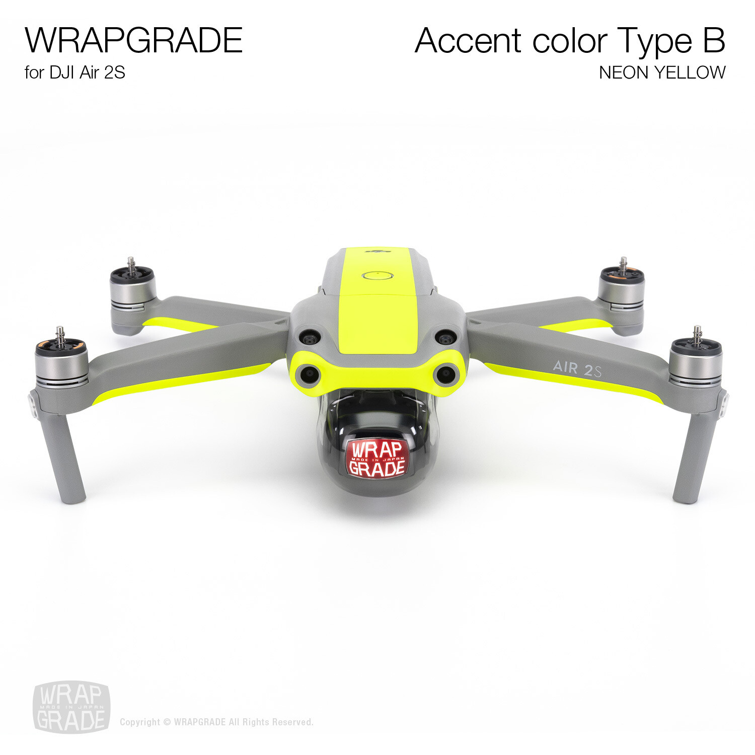 Wrapgrade Skin for DJI Air 2S | Accent Color B (NEON YELLOW)
