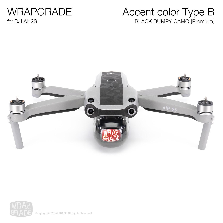 Wrapgrade Skin for DJI Air 2S | Accent Color B (BLACK BUMPY CAMO)