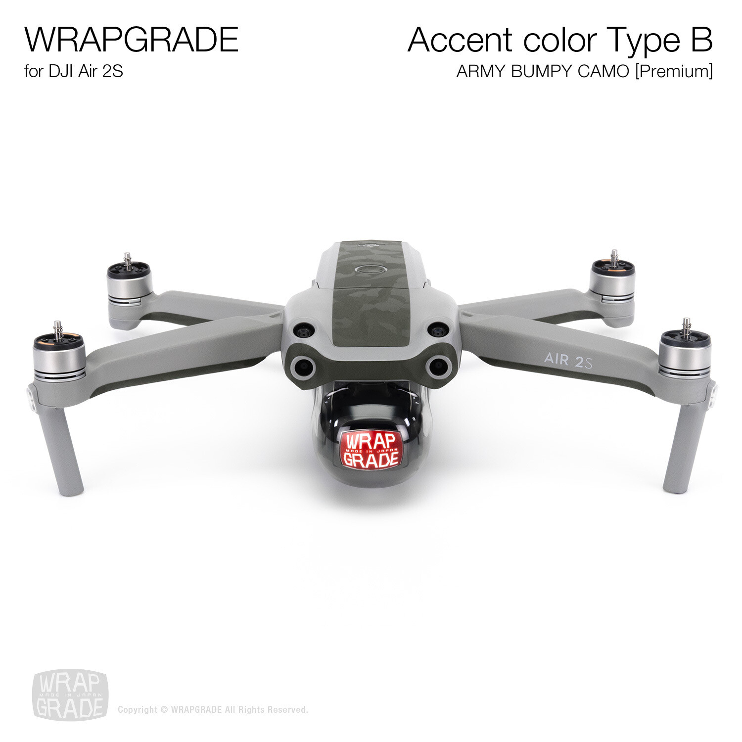 Wrapgrade Skin for DJI Air 2S | Accent Color B (ARMY BUMPY CAMO)