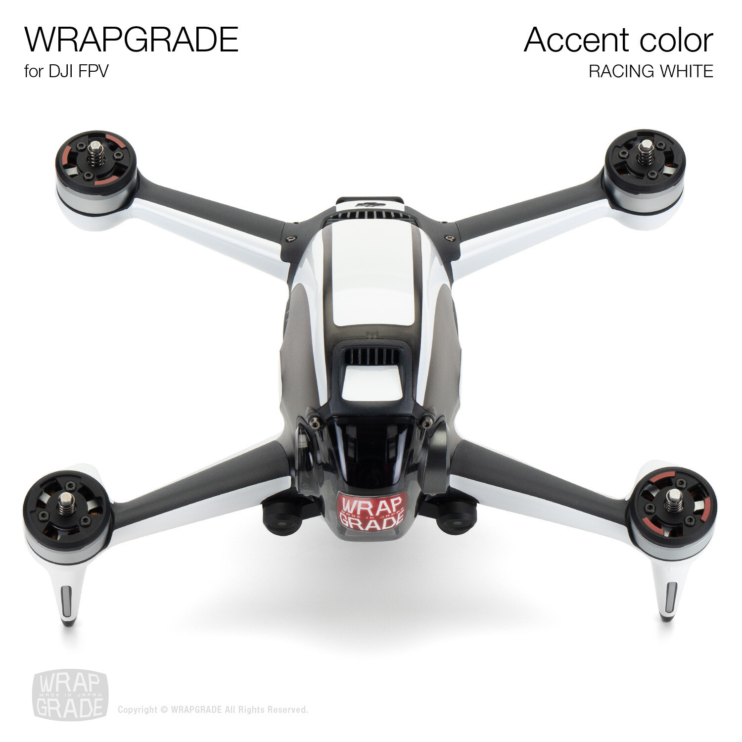 WRAPGRADE for DJI FPV   Accent color (RACING WHITE)