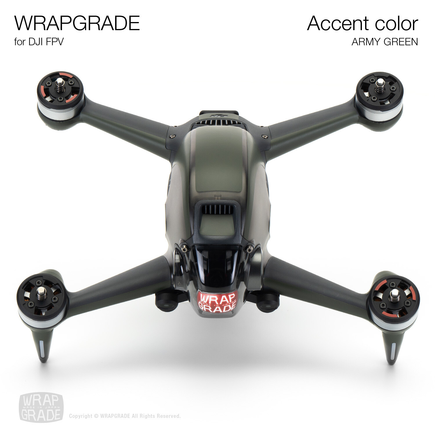 WRAPGRADE for DJI FPV | Accent color (ARMY GREEN)
