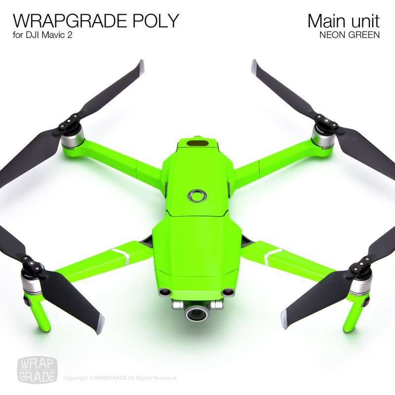 Wrapgrade Poly Skin for DJI Mavic 2 | Main unit (NEON GREEN)