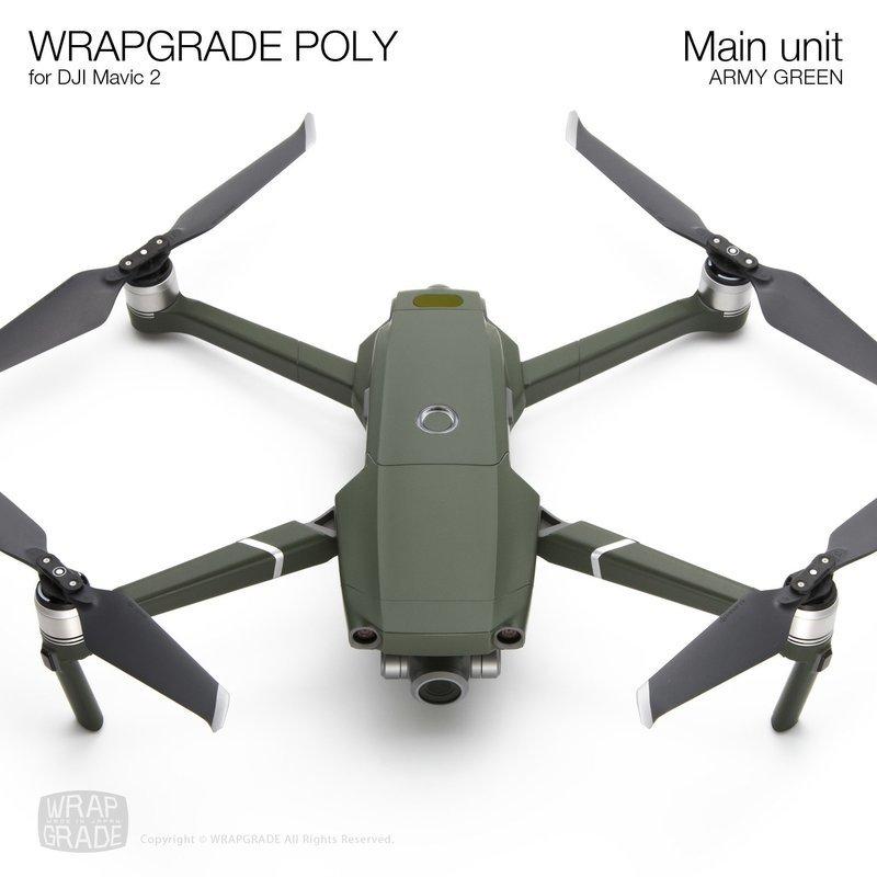 Wrapgrade Poly Skin for DJI Mavic 2 | Main unit (ARMY GREEN)
