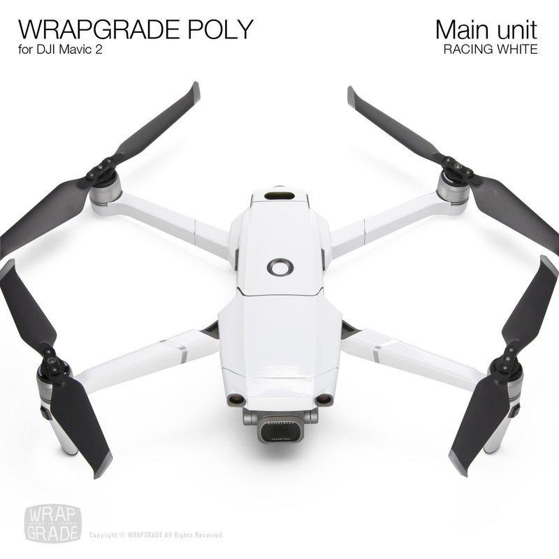 Wrapgrade Poly Skin for DJI Mavic 2 | Main unit (RACING WHITE)