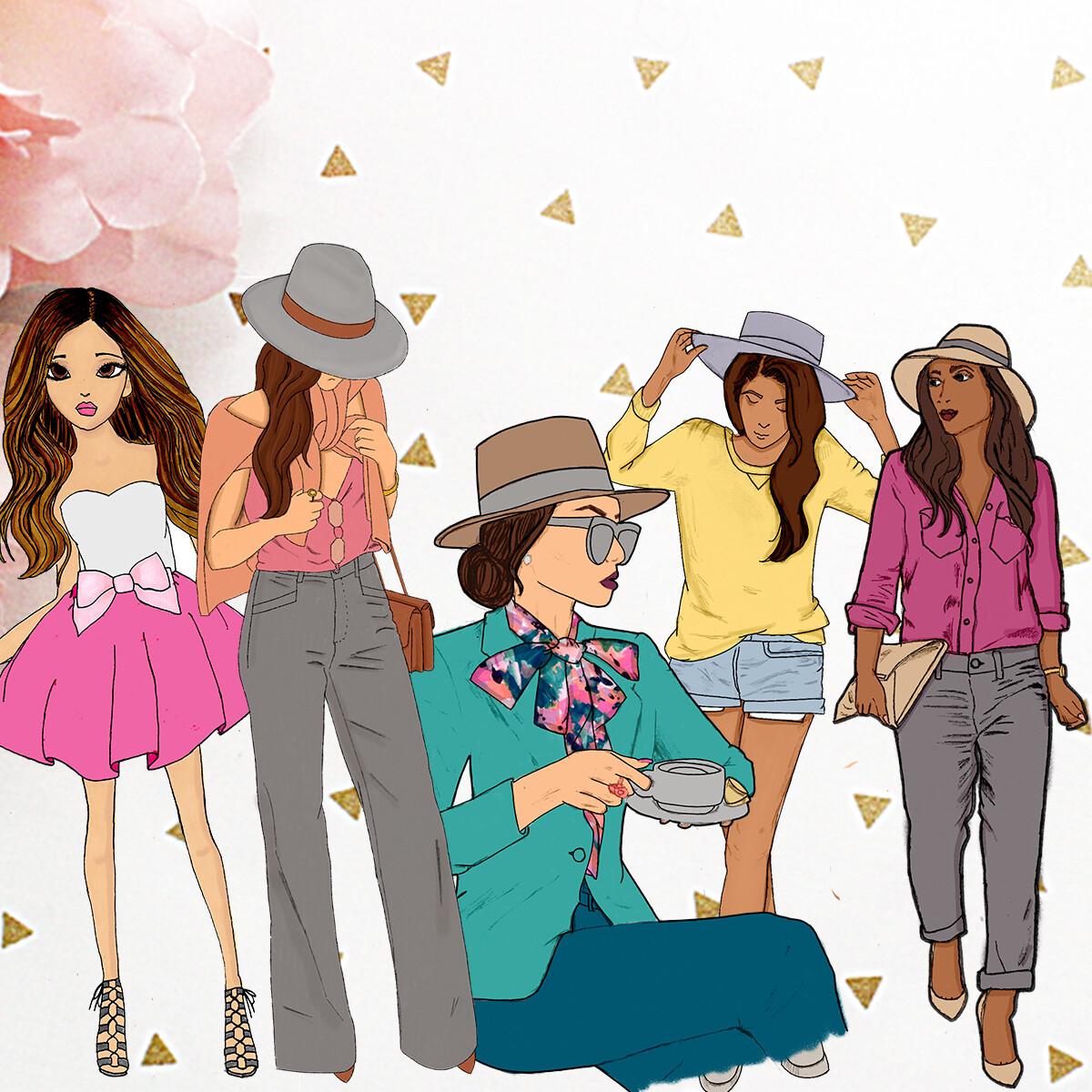 Illustrated Girls Set #2