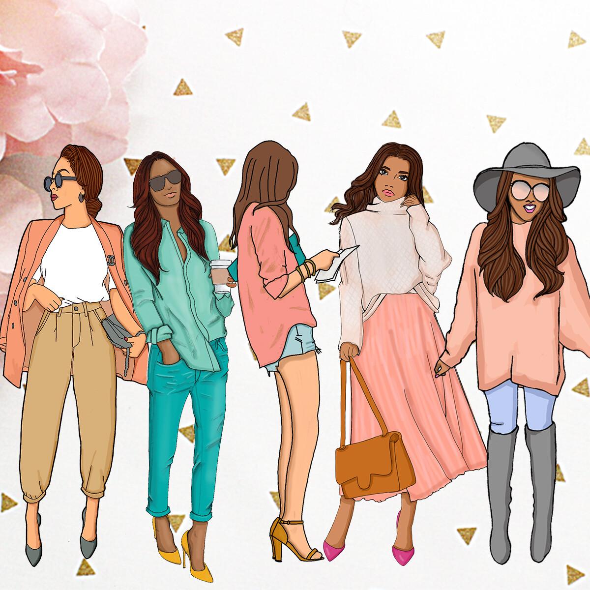 Illustrated Girls Set #1