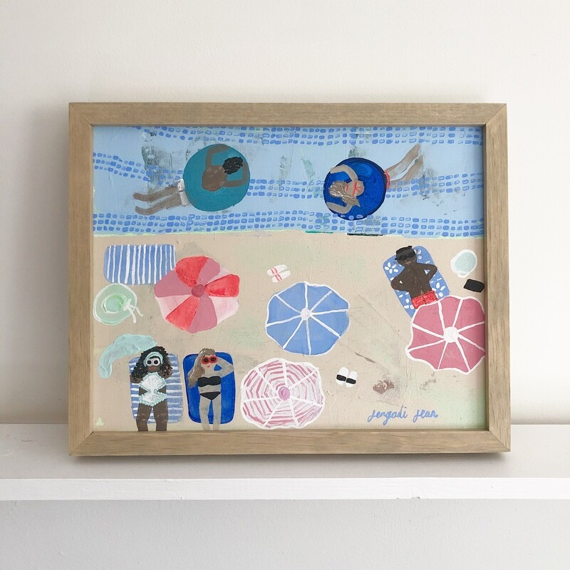 Something Beachy, Something Blue (11x14) Framed