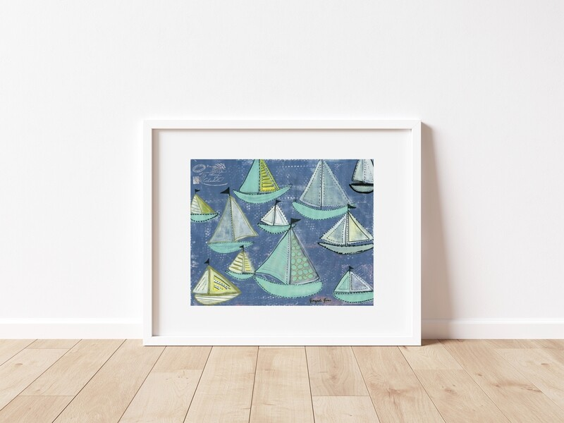 Bright Blue & Seafoam Sailboats