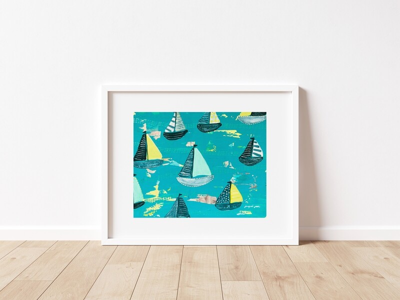 Bright Teal + Yellow Sailboats