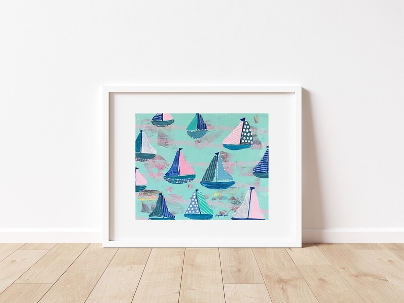 Pink and Mint Sailboats