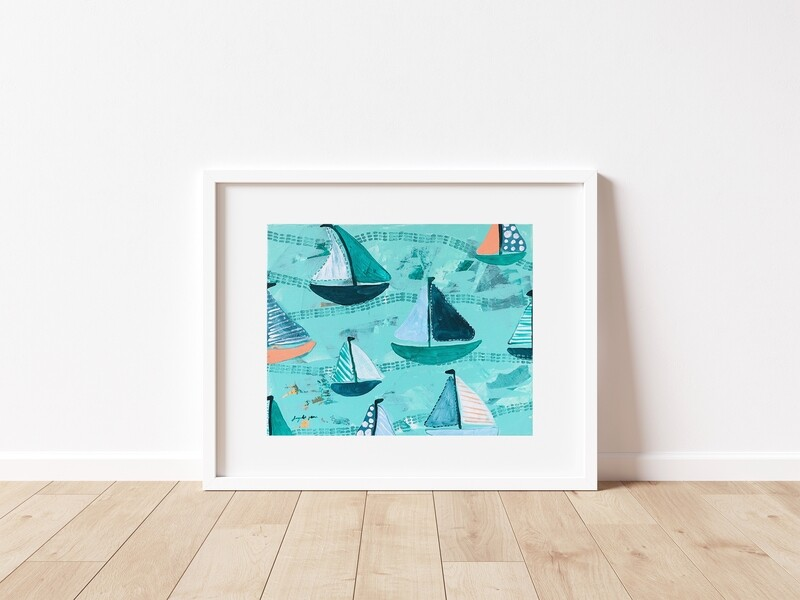 Teal Green and Peach Sailboats
