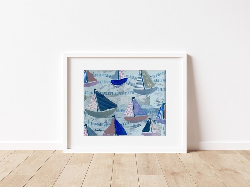 Lavender and Blue Sailboats