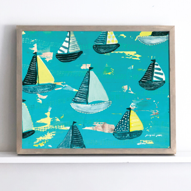 Bright Teal + Yellow Sailboats Framed Original (16 x 20)