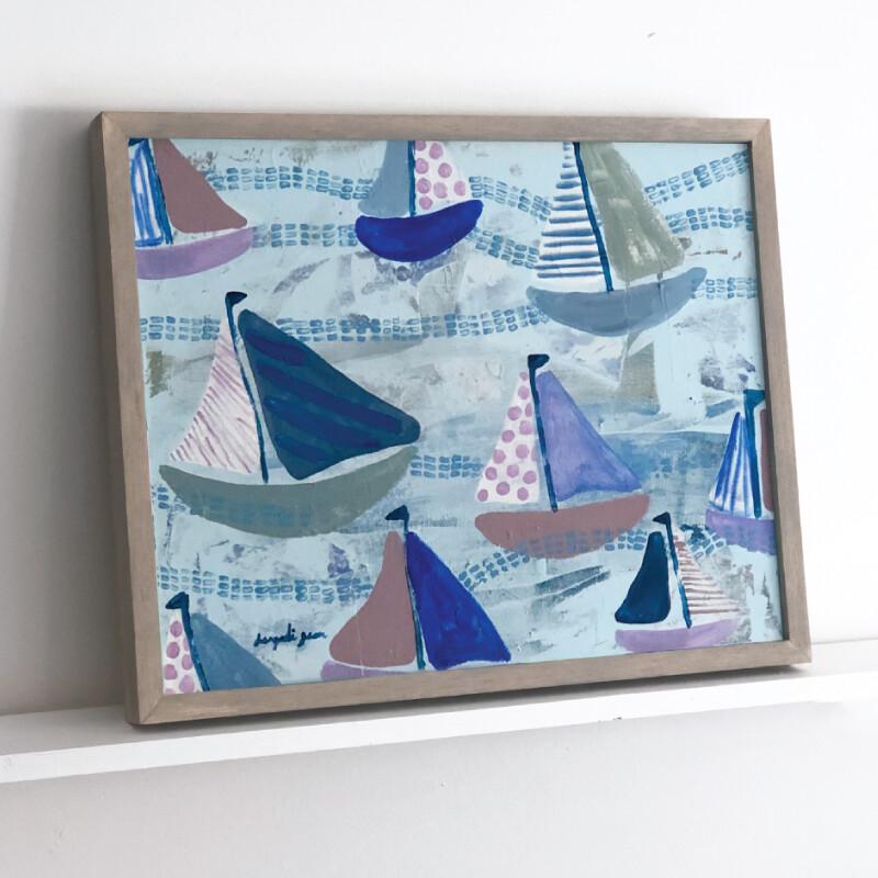 Lavender and Blue Sailboats Framed Original (16 x 20)