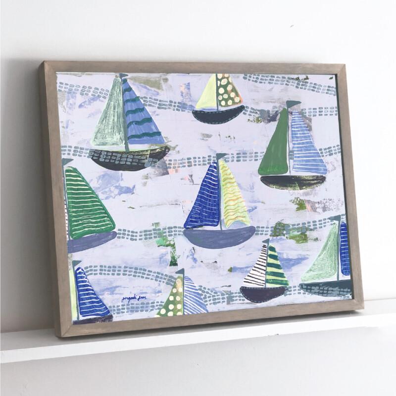 Baby Blue Sailboats Framed Original (16 x 20)