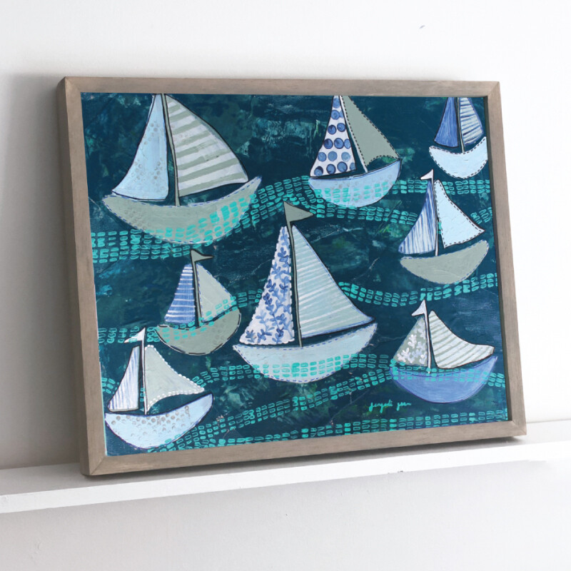 Navy Boats Framed Original (16 x 20)