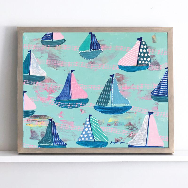 Pink and Mint Sailboats Framed Original (16 x 20)