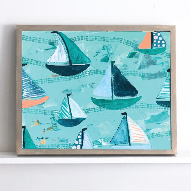 Teal Green & Peach Sailboats Framed Original (16 x 20)