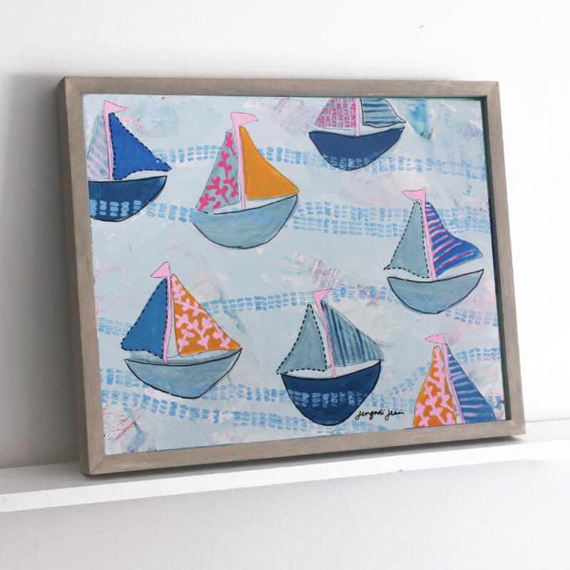 Pink Boats Framed Original (16 x 20)