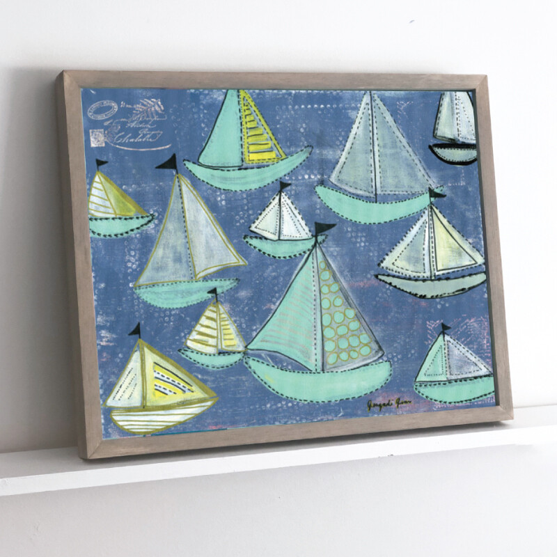 Seafoam Boats Framed Original (16 x 20)