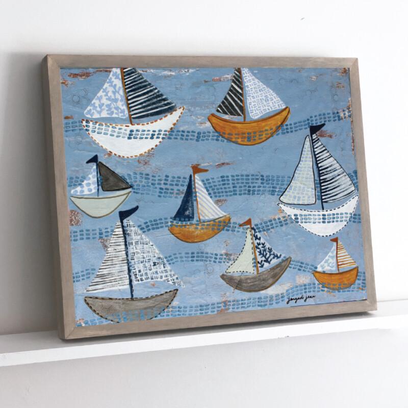Light Blue Boats Framed Original (16 x 20)