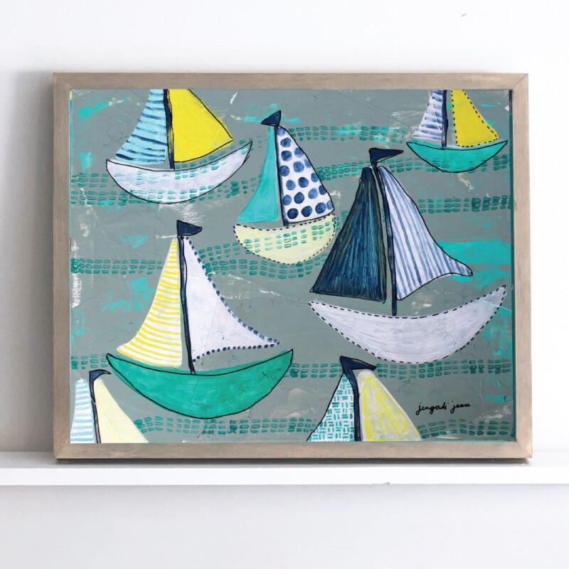 Teal Boats Framed Original (16 x20)